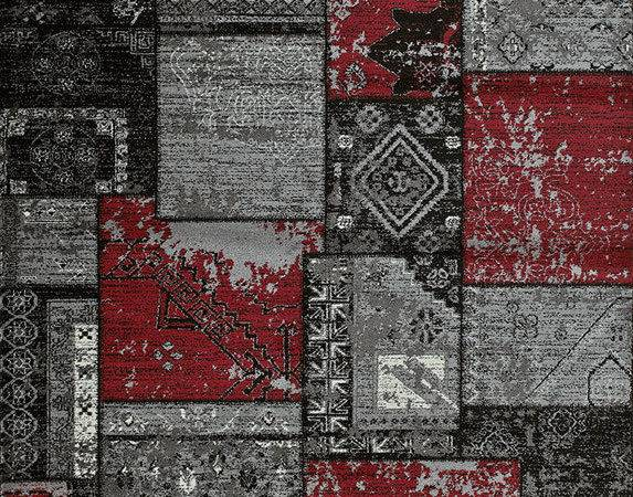 Grey Red Patchwork Contemporary Area Rug Graphic
