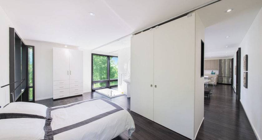 Grey Wood Flooring Bedroom Modern Black