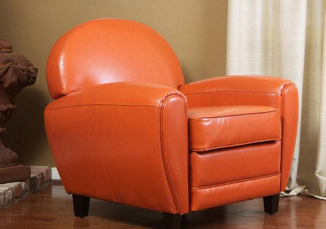 Hayley Burnt Orange Leather Club Chair Contemporary