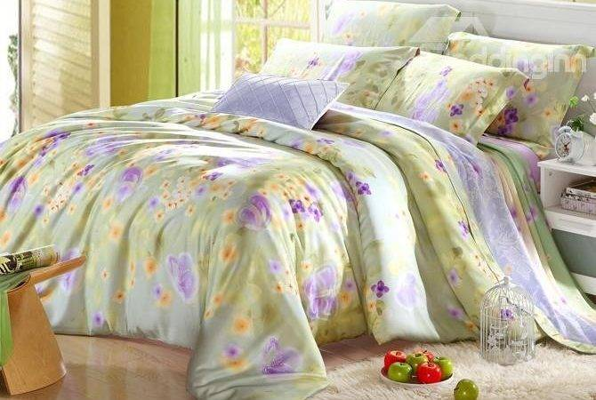 High Quality Yellow Purple Floral Pieces Tencel
