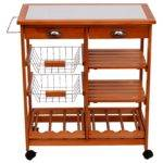 Homcom Wooden Kitchen Trolley Cart Drawers Shelves