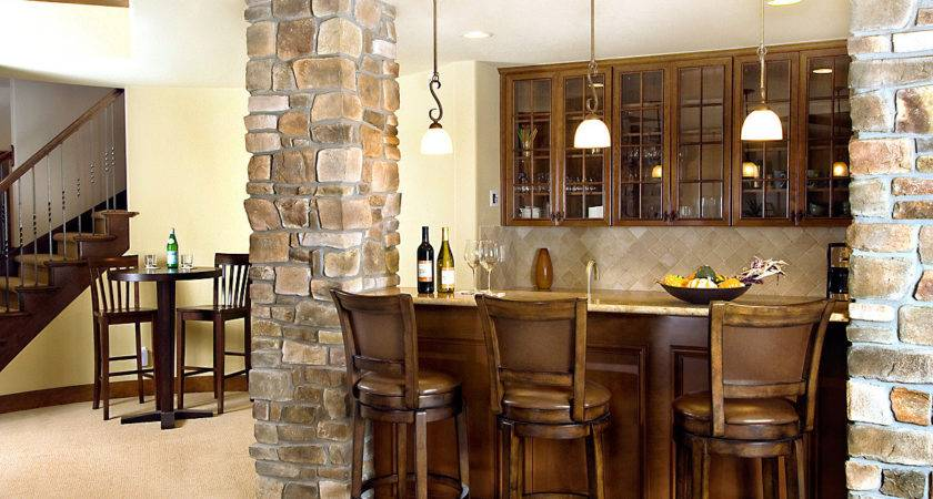Home Basement Bar Design Idea Wooden Table