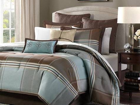 Home Essence Daniel Piece Comforter Set Blue Brown