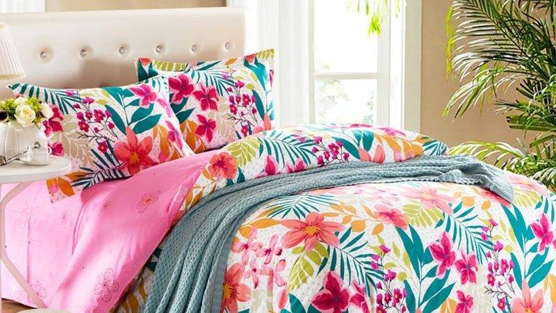 Hot Pink Teal White Bright Colorful Tropical Flower