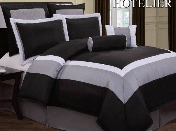 Hotel Design Black White Grey Comforter Set Queen King