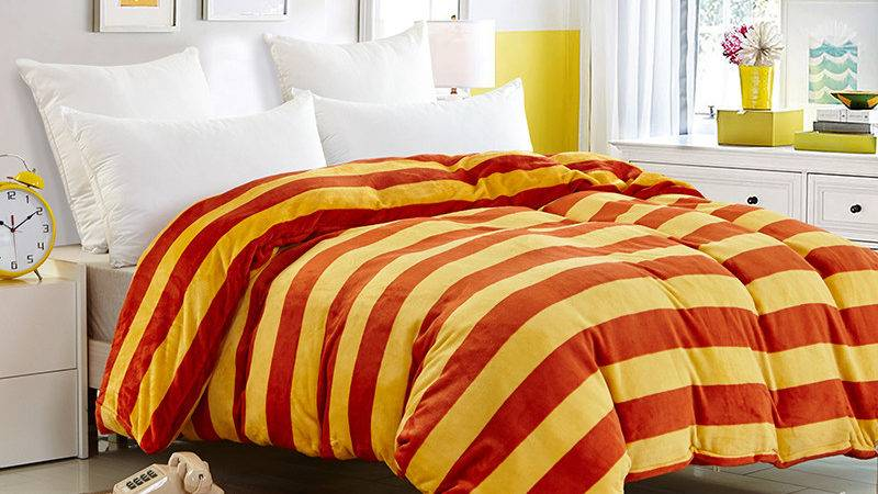 Housse Couette Edredones Colchas Yellow Red Bed