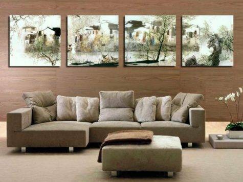 Ideas Decorating Large Wall Living Room Home