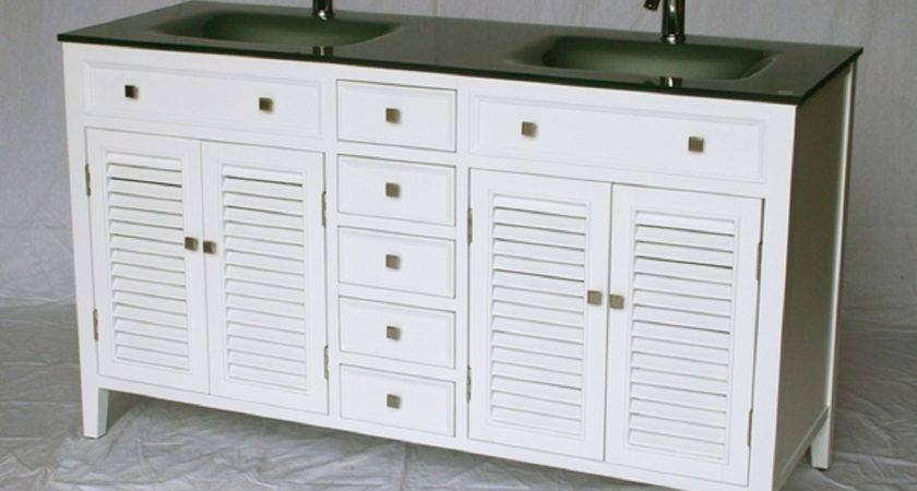 Inch Bathroom Vanity Cottage Style White Cabinet Glass Top