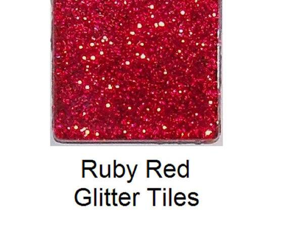 Inch Ruby Red Glitter Glass Mosaic Tiles