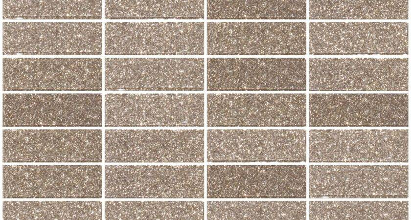 Inch Taupe Gold Glitter Glass Subway Tile Stacked