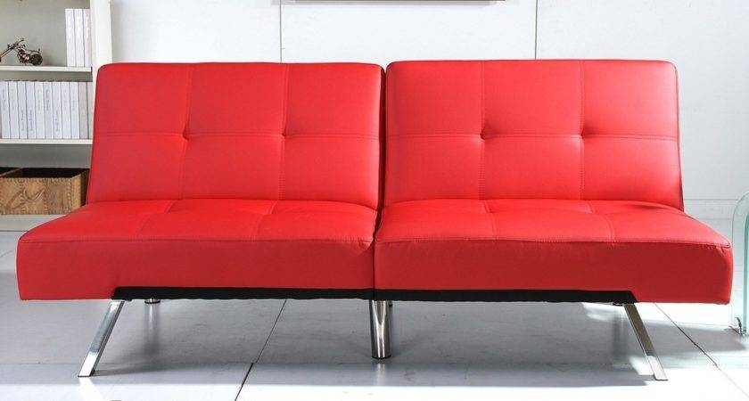 Incredible Red Leather Sleeper Sofa Awesome Interior