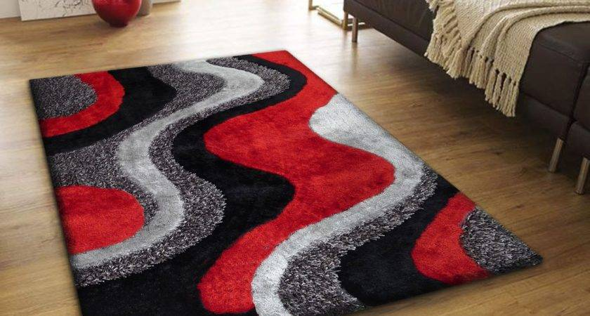 Indoor Red Grey Black Hand Tufted Area Rug Luxurious