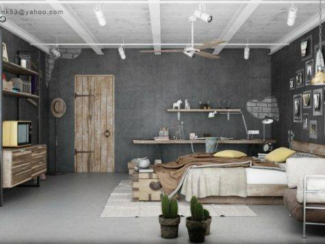 Industrial Bedrooms Interior Design Decorating