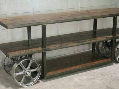 Industrial Trolley Cart Media Console Stand