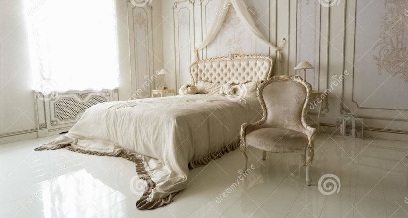 Interior Classic White Bedroom Big Bed Chair