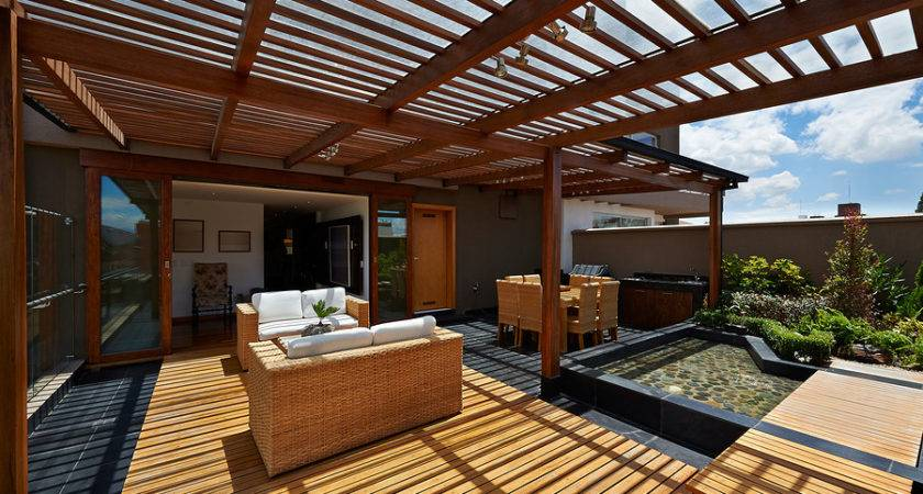 Interior Design Beautiful Terrace Lounge Pergola