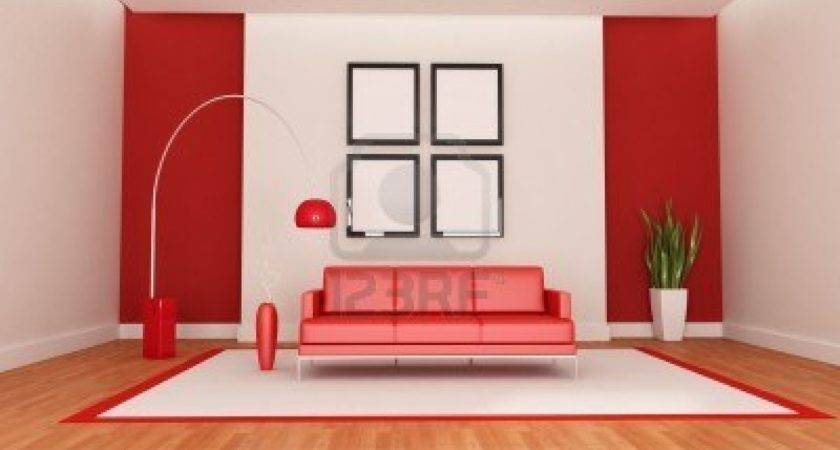 Interior Red Living Room Design Modern