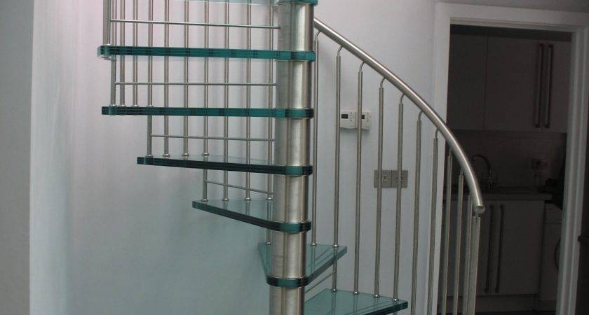 Interior Wooden Spiral Stairs Glass Steps Square