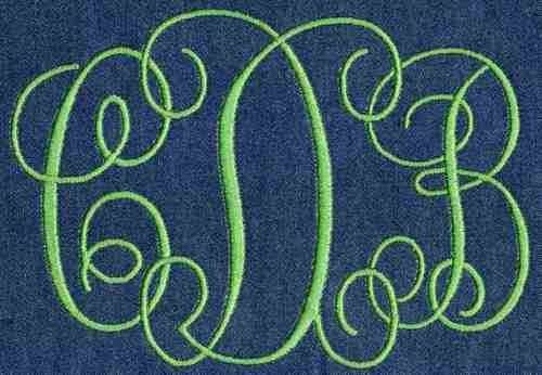 Interlocking Satin Stitch Monogram Jolson Designs