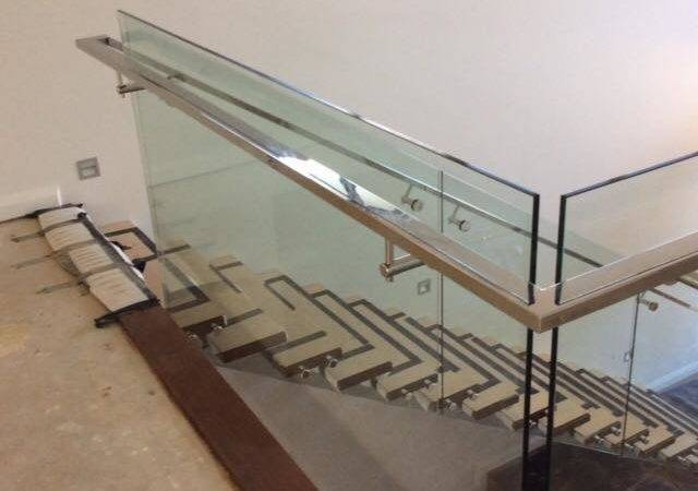 Internal Glass Balustrading Face Fixed Timber Stair