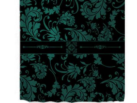 Items Similar Shower Curtain Black Teal Damask Etsy