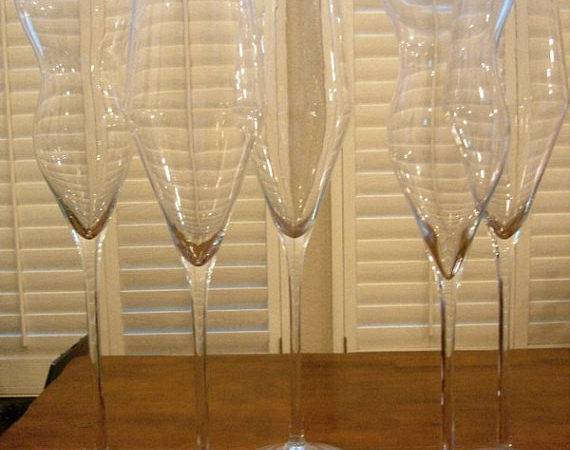 Items Similar Tall Champagne Glass Centerpieces Etsy