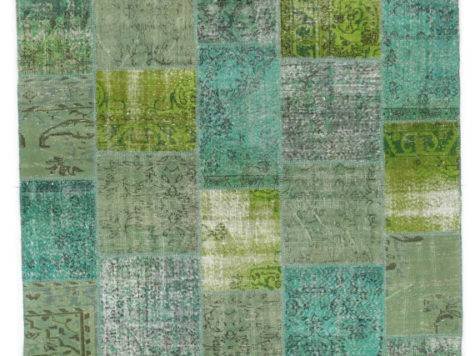 Items Similar Turquoise Lime Green Rug Patchwork