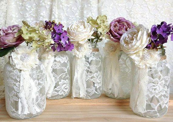 Ivory Lace Covered Jar Perfect Wedding Decorations