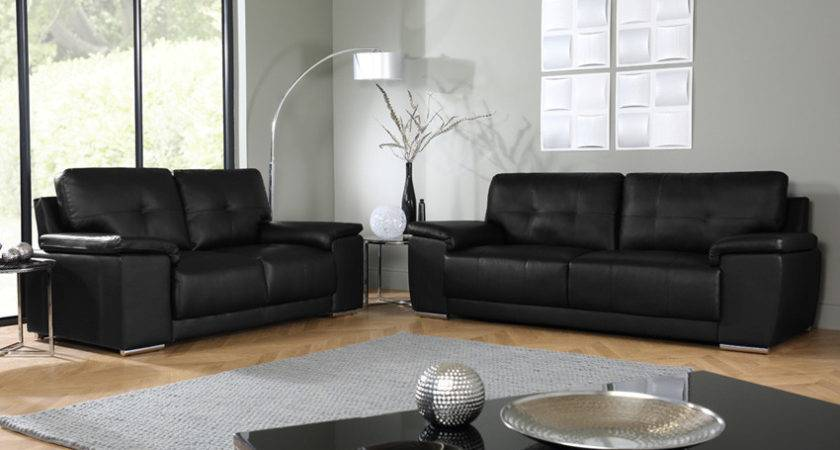 Kansas Black Seater Leather Sofa Suite Only