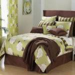 Key Lime Green Brown Large Floral Comforter Set Ebay