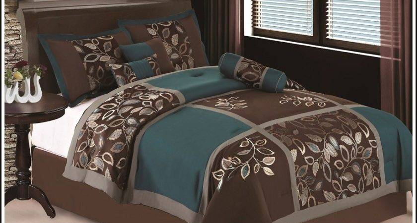 King Esca Bedding Teal Blue Brown Comforter Setbed