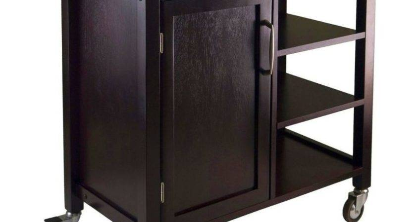 Kitchen Cart Island Espresso Rolling Storage Cabinet