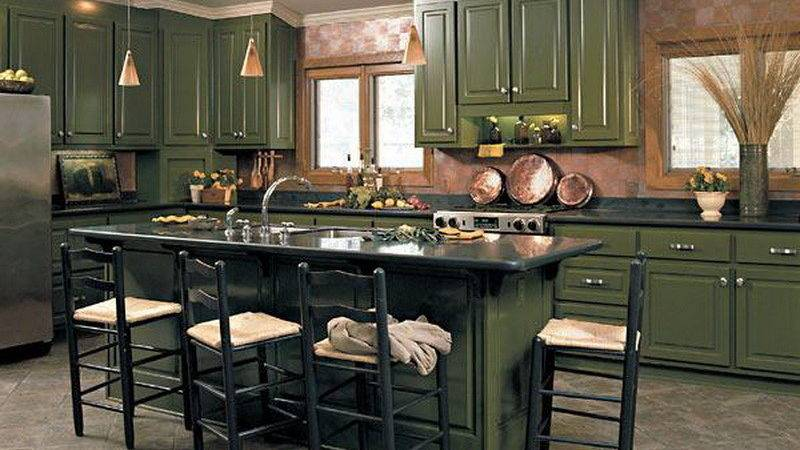 Kitchen Green Cabinets Cabinet