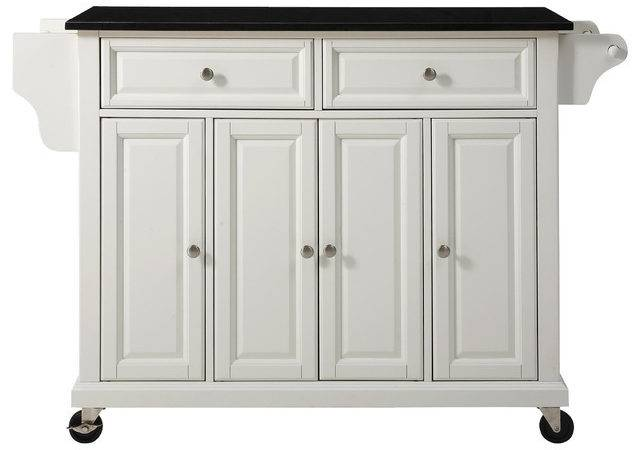 Kitchen Island Cart White Black Granite Top