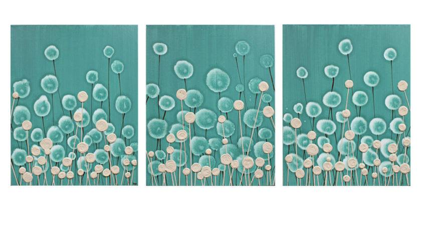 Large Modern Art Teal Brown Painting Home Decor