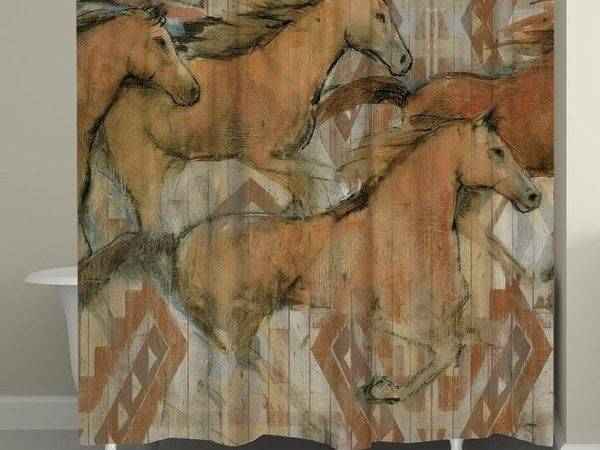 Laural Home Southwest Running Horses Shower Curtain