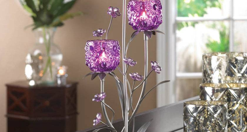 Lavender Fuchsia Blooms Candle Holder Table Wedding