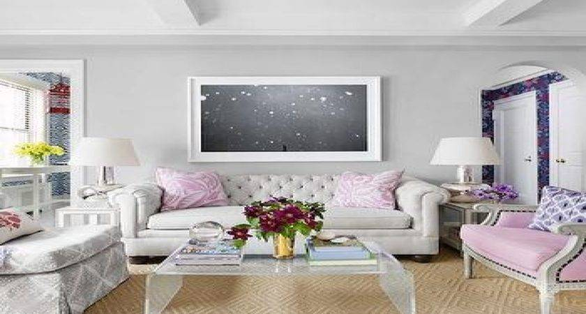 Lavender Sofa Gray Walls Living Room Light