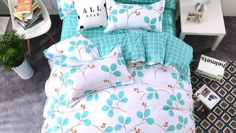 Leaf Plaid White Green Bedding Sets Twin Queen