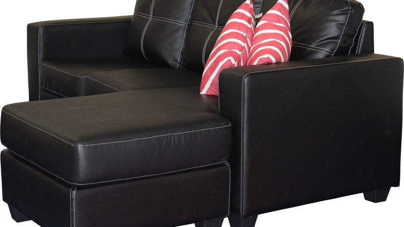Leather Lounge Suite Chaise Black Buy