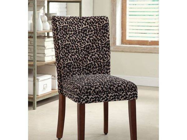 Leopard Parsons Chairs Set Dining Kitchen Living Room