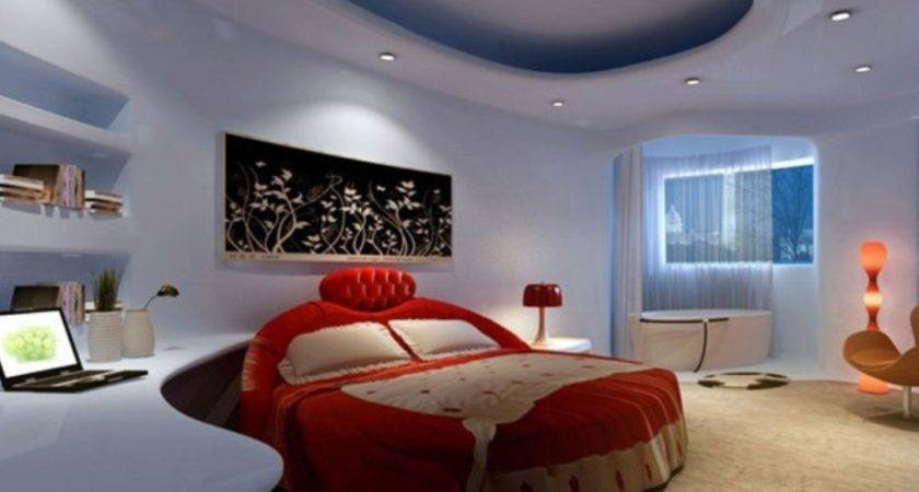 Light Blue Bedroom Red Bed