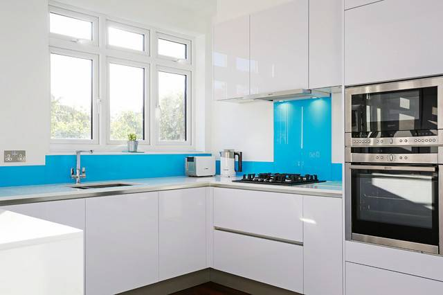 Light Blue Kitchen Splashback Contemporary