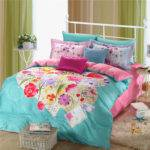Light Blue Pink Beautiful Floral Bedding Set