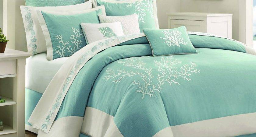 Light Blue Teal Coral Pattern Bed Comforter Beach