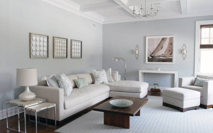 Light Gray Sectional Contemporary Living Room Mabley