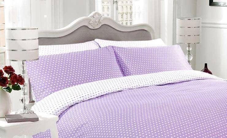 Lilac White Polka Dot Reversible Duvet Cover Bedding