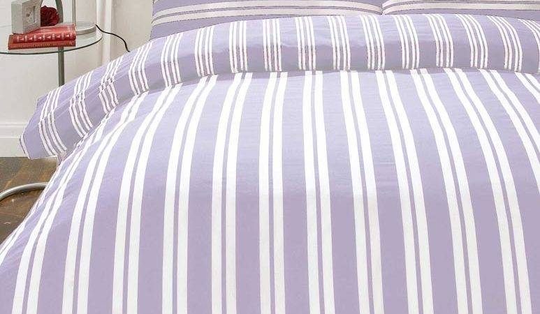 Lilac White Stripe Flannelette Girls Bedding Double