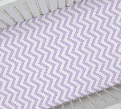 Lilac White Zig Zag Crib Sheet Carousel Designs