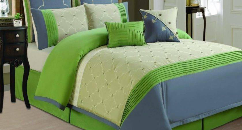 Lime Green Gray Bedding Casual Bedroom Contemporary